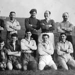 Water Nabb Pitt married men football team B Place G Baldwin M Pickup S Binns R Dunn W Fletcher S Broxton S Spencer J Williams S Spencer snr c 1950